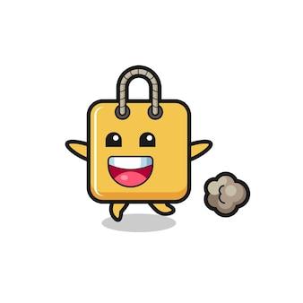 Il cartone animato felice borsa della spesa con posa in esecuzione, design in stile carino per t-shirt, adesivo, elemento logo