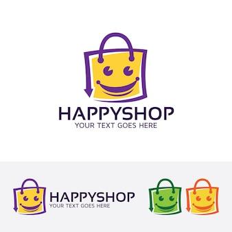 Modello di logo dello shopping felice