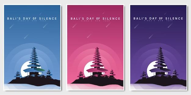 Felice giorno del silenzio di bali flat design
