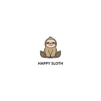 Icona di cartone animato seduta felice bradipo