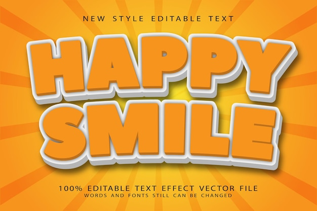 Sorriso felice effetto testo modificabile in rilievo in stile cartone animato