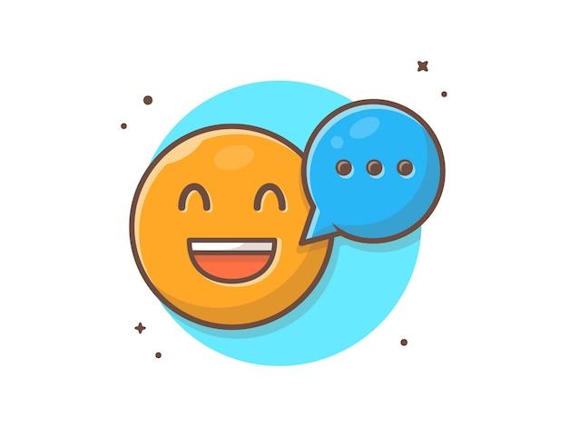 Emotclip-art di sorriso felice con l'illustrazione di clipart di vettore del fumetto di conversazione