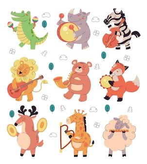 I personaggi di animali sorridenti felici suonano musica su un set isolato di strumenti musicali diversi