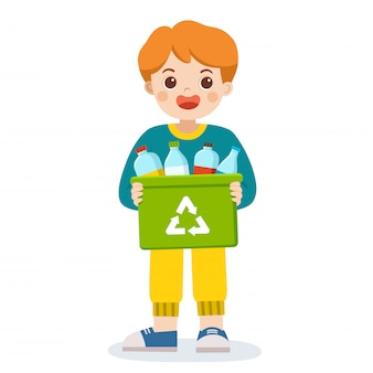 Ragazzo sorridente felice che trasporta un bidone del contenitore di bottiglie adatte al riciclaggio. salva la terra. riciclo dei rifiuti.