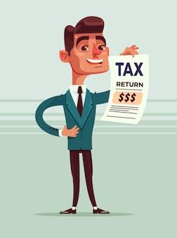 Il carattere sorridente felice dell'impiegato di concetto dell'uomo d'affari tiene l'illustrazione piana del fumetto del documento di dichiarazione dei redditi