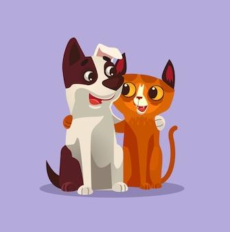 Illustrazione sorridente felice dei migliori amici dei caratteri del cane e del gatto