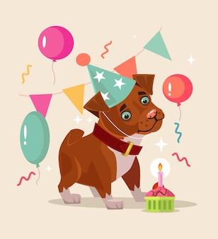 Il personaggio sorridente felice del cane festeggia il compleanno.
