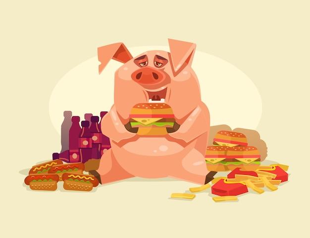 Carattere di maiale grasso sorridente felice che mangia fast food malsano