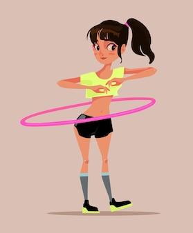 Carattere teenager sorridente felice della ragazza che gira giocando hula hoop. cartone animato