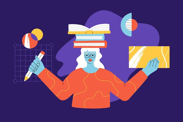 Ragazza sorridente felice con libri sulla testa e matita in mano che studia e impara, donna intelligente con gli occhiali, formazione online di giovane donna moderna, forme geometriche astratte di sfondo, stile alla moda