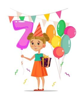 Bambina sorridente felice che tiene confezione regalo, palloncini e festeggia il buon compleanno. illustrazione di cartone animato piatto