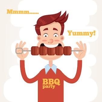 Carattere dell'uomo sorridente felice che mangia bistecca di carne di manzo arrosto alla griglia cucinata barbecue gustoso fresco