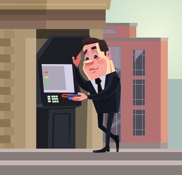 Carattere di lavoratore di ufficio ricco uomo d'affari sorridente felice che ritira denaro da atm. transazione di denaro. illustrazione di cartone animato piatto