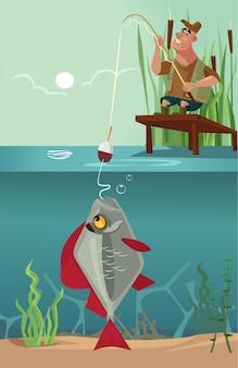 Il carattere sorridente felice del pescatore di seduta tira il grande pesce enorme enorme sul morso del gancio della canna da pesca dal lago. design