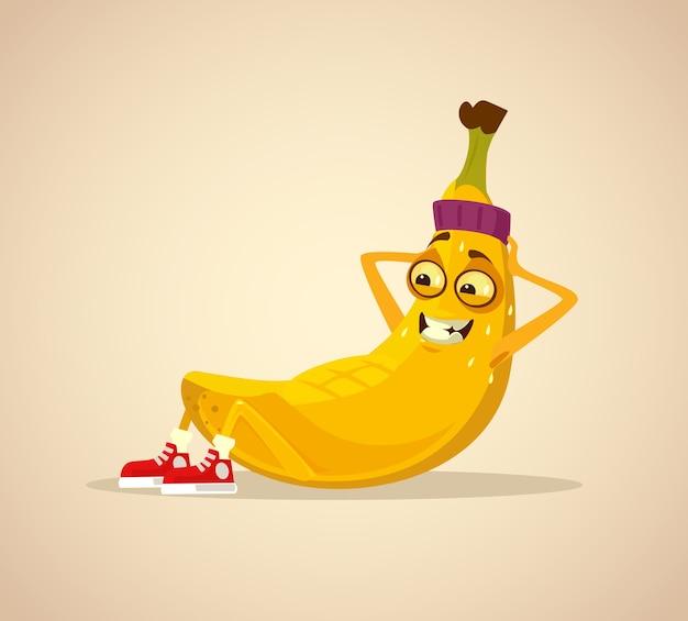 Il carattere sorridente felice della banana di sport risolve gli addominali. illustrazione del fumetto