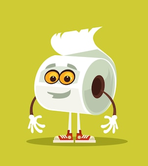 Illustrazione piana del fumetto del carattere della carta igienica sorridente felice