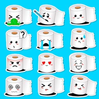 Carattere di carta igienica sorridente felice