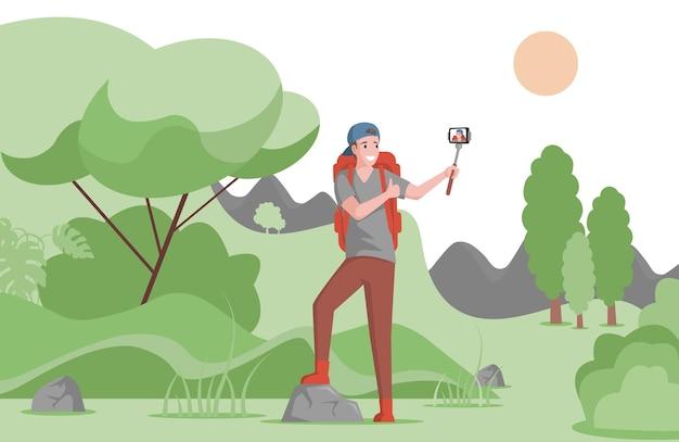 Turista sorridente felice con l'illustrazione dello zaino da escursionismo