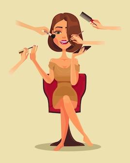 Carattere di donna sorridente felice nel salone di bellezza