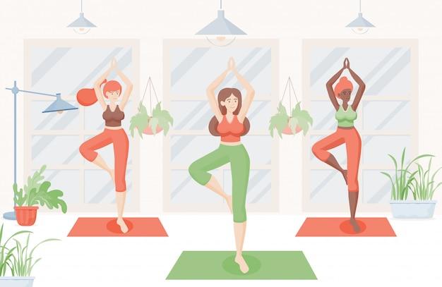 Donne sorridenti felici che fanno yoga a casa o illustrazione piana dello studio di yoga. ragazze che allungano e fanno pilates.