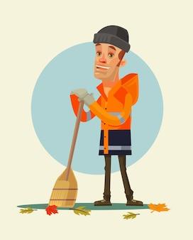 Felice sorridente carattere yardman spazzare le foglie cartoon illustrazione