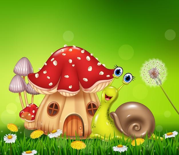 Lumaca felice con bella casa dei funghi
