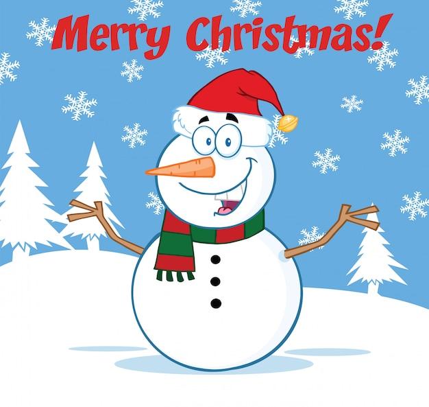 Carattere felice della mascotte del fumetto del pupazzo di neve con a braccia aperte sotto il testo di buon natale