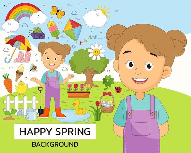 Elementi e illustrazioni di primavera felice