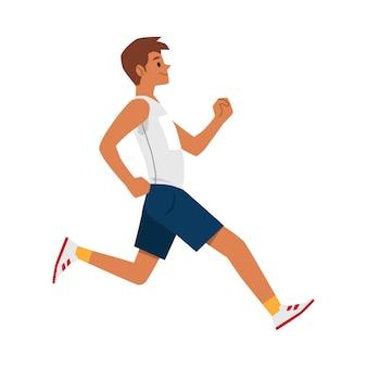 Uomo velocista felice che corre molto veloce - vista laterale dell'uomo del corridore del fumetto che pareggia isolato. atleta maschio a metà salto - piatto.
