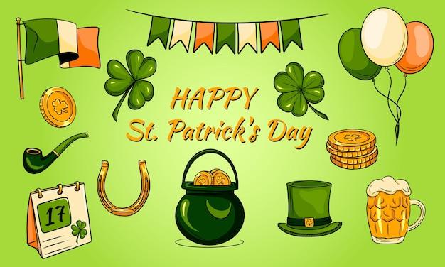 Sfondo di giorno di san patrizio felice con icone irlandesi.