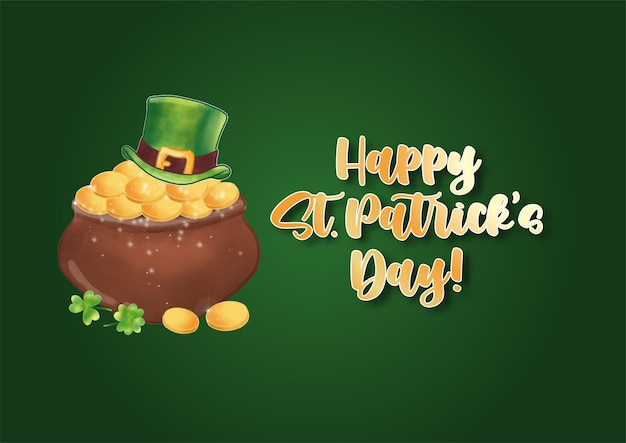 Buon giorno di san patrizio con testo artistico e simbolo di san patrizio su verde