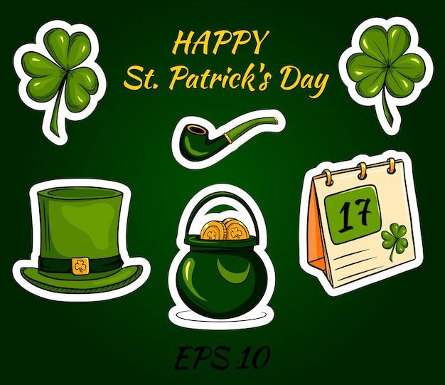 Buon giorno di san patrizio con icone e adesivi irlandesi.