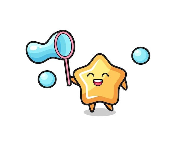 Cartone animato felice stella che gioca bolla di sapone, design in stile carino per maglietta, adesivo, elemento logo