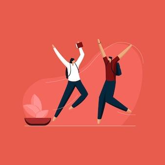Studente felice che salta e celebra la gioia con il libro e la borsa