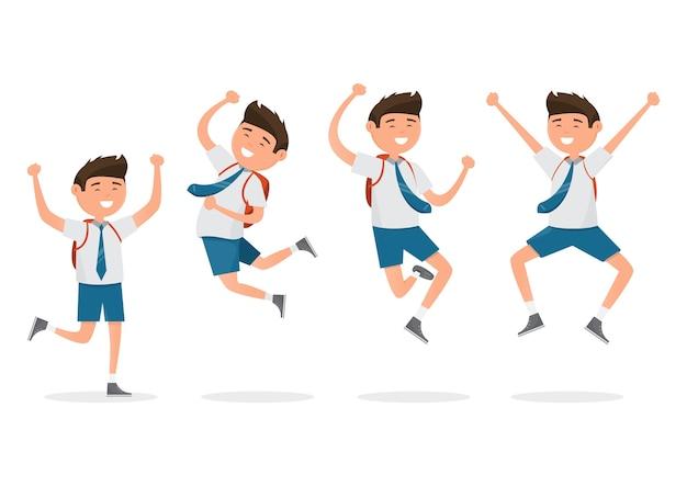 Felici studenti quando tornano a scuola