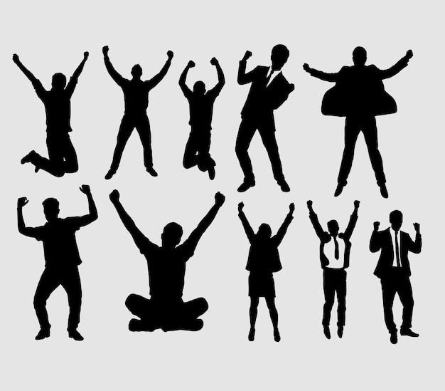 Felice e successo persone e uomo d'affari silhouette