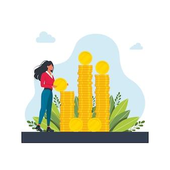 Personaggio di successo felice con un mucchio di monete. benessere finanziario. una donna mette una moneta su un grosso mucchio di soldi. investimento aziendale e risparmio di denaro. commissioni e finanziamenti