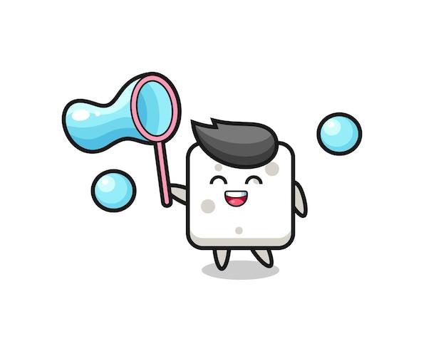 Cartone animato felice zolletta di zucchero che gioca a bolle di sapone, design in stile carino per maglietta, adesivo, elemento logo