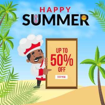 Modello di progettazione banner felice estate