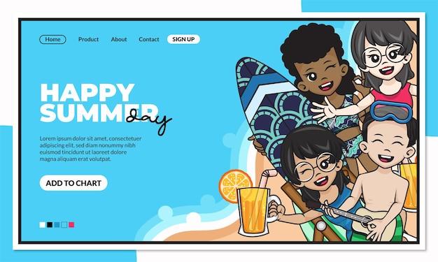 Modello di pagina di destinazione felice giorno d'estate con simpatico personaggio dei cartoni animati
