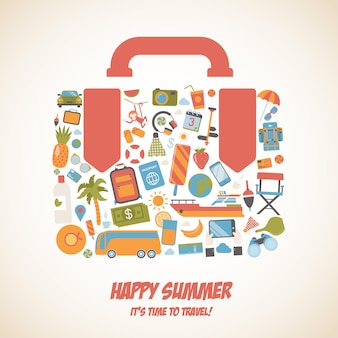 Forma felice della valigia di concetto di vacanza di viaggio di turismo di viaggio di estate