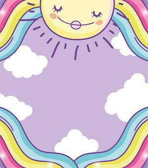 Sole felice con bellezza arcobaleno e nuvole