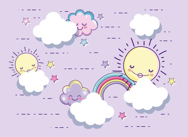 Sole felice con soffici nuvole e stelle