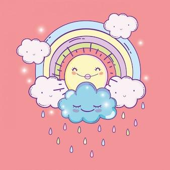 Sole felice con arcobaleno e soffici nuvole