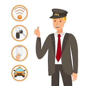 Illustrazione felice del fumetto del lavoratore di servizio di taxi