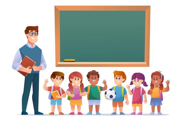 Felice insegnante e bambini studenti davanti alla lavagna