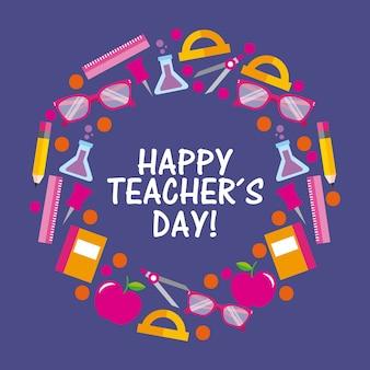 Forniture di cancelleria per la celebrazione della carta di giorno felice insegnante tondo