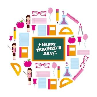 Decorazione felice delle icone del cerchio della carta di giorno dell'insegnante