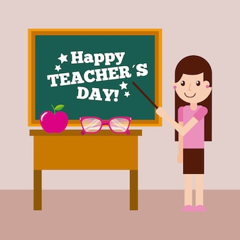 Lavagna e scrittorio felici della ragazza della carta di giorno dell'insegnante