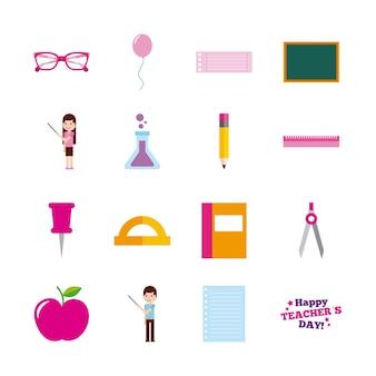 Scuola felice degli accessori dell'utensile della carta di giorno dell'insegnante